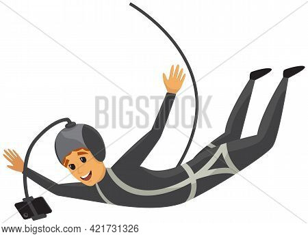 Man Is Doing Bungee Jumping And Making Photo Of Jump. Guy Is Engaged In Extreme Sports. Male Charact