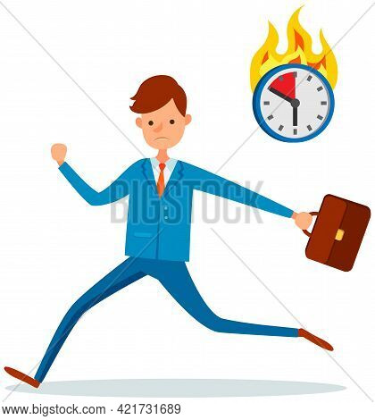 Businessman Trying To Finish Work On Time. Stress And Deadline At Work. Male Employee Is In Hurry To