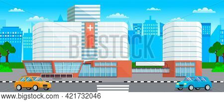 Modern Hospital Building, Healthcare System And Medical Facility With All Departments. Clinic With A