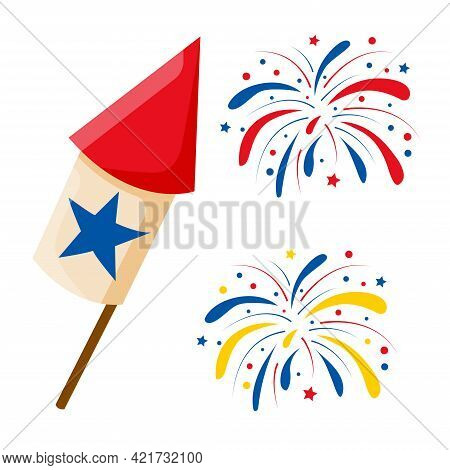 Happy 4th July Fireworks. Celebration Firework Explode, Carnival Party Firecracker Explosions. Color