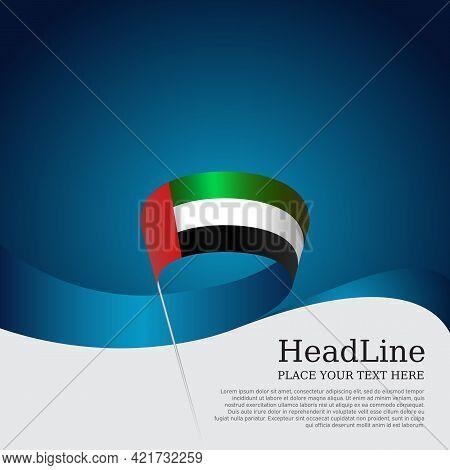 United Arab Emirates Flag With Wavy Ribbon On A Blue White Background. Uae National Poster. Backgrou