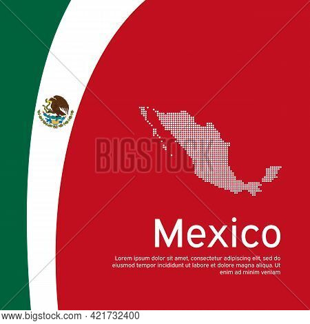 Abstract Waving Mexico Flag Mosaic Map. Creative Background In Mexico Flag Colors For Holiday Card D