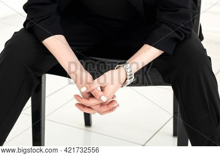 Close Up Of Woman's Hands Clasped In Lock