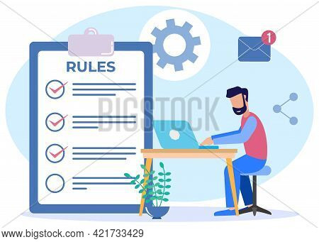 Vector Illustration For Corporate Order Concept, Boundaries, Laws, Regulations. Business People Stud