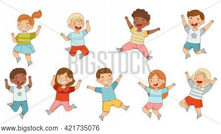 Elated Children Jumping With Joy Expressing Excitement And Happiness Vector Set