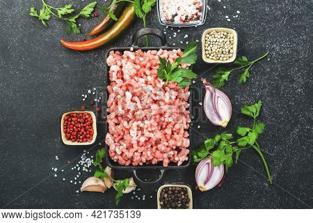 Mince, Ground Minced Pork, Beef Meat With Ingredients For Cooking On Black Background. Top View, Cop