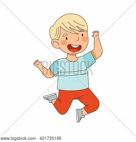 Elated Blond Boy Jumping With Joy Expressing Excitement And Happiness Vector Illustration