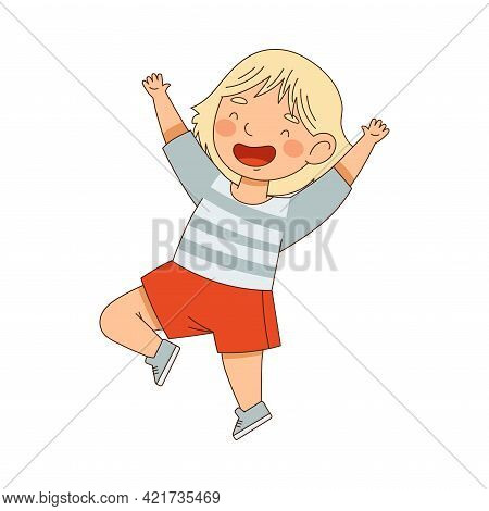 Excited Little Girl Jumping With Joy Expressing Happiness Vector Illustration