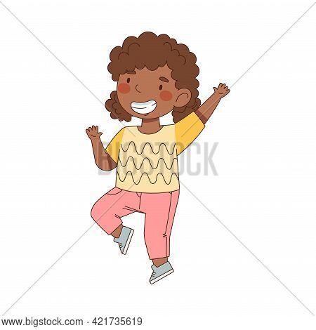 Excited Little African American Girl Jumping With Joy Expressing Happiness Vector Illustration