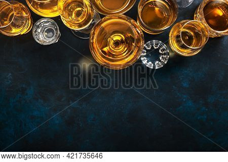 Strong Alcoholic Drinks, Spirits And Distillates In Glasses: Vodka, Cognac, Tequila, Scotchand Other