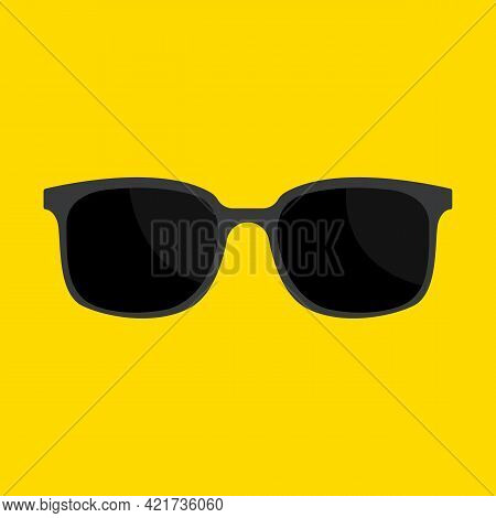 Cool Black Cartoon Sunglasses Eye Frames Vector Icon.