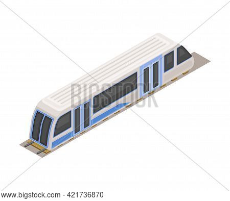 Electric Train As High-speed Transport In Metro Or Subway And Rapid Transit Urban System Isometric V