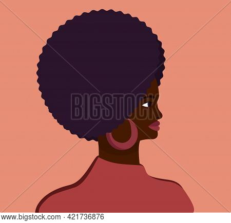 Stylish Profile Portrait Of An African Woman. Head Of Dark Skin Woman With Voluminous Hairstyle. Vec
