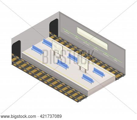 Electric Train High Platform In Metro Or Subway As Rapid Transit Urban System Isometric Vector Illus