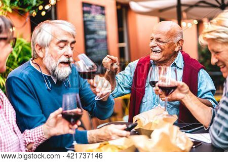 Happy Retired Friends Having Fun Drinking Red Wine At Pre Dinner Party - Senior People Eating At Res