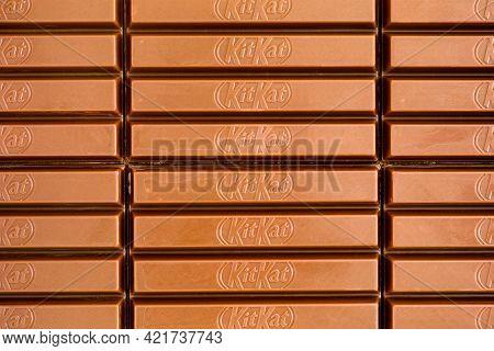 Tambov, Russian Federation - March 19, 2021 Kitkat Chocolate Bars Background. Full Frame. Close-up