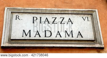 Text Of Piazza Madama Where There Is The Senate Of The Italian Republic In The Capital Rome