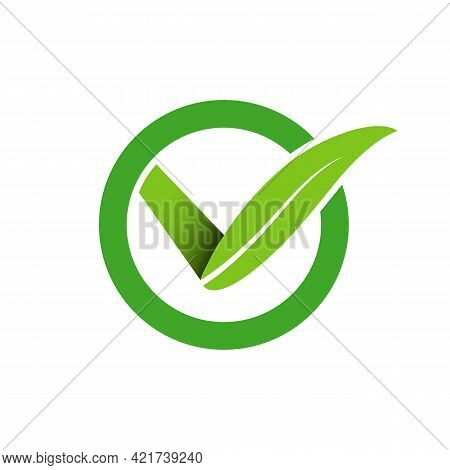 Illustration Vector Graphic Of Leaf Check Logo