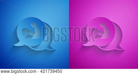 Paper Cut Bodybuilder Showing His Muscles Icon Isolated On Blue And Purple Background. Fit Fitness S