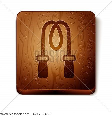 Brown Jump Rope Icon Isolated On White Background. Skipping Rope. Sport Equipment. Wooden Square But