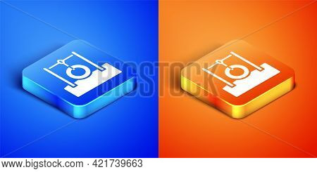 Isometric Car Tire Hanging On Rope Icon Isolated On Blue And Orange Background. Playground Equipment