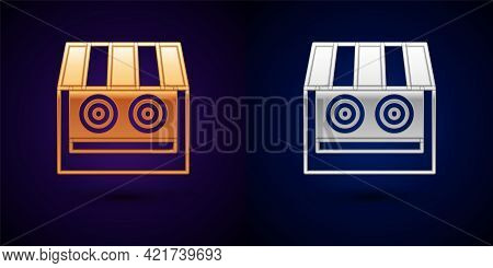 Gold And Silver Shooting Gallery Icon Isolated On Black Background. Shooting Range. Vector
