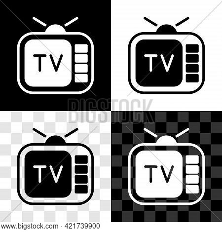 Set Retro Tv Icon Isolated On Black And White, Transparent Background. Television Sign. Vector