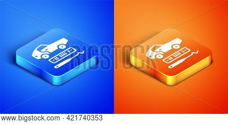 Isometric Car Theft Icon Isolated On Blue And Orange Background. Square Button. Vector