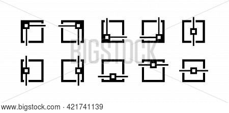 Alignment Icons Collection. Align Icons Set. Set Of Black Editing And Formatting Icons. Outline Symb