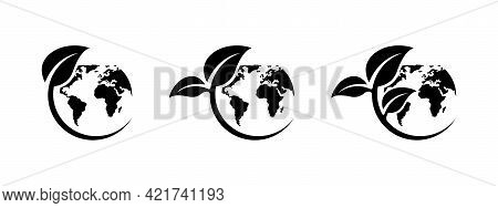 Eco Earth Icon Set. Green World Icons Set. World Environment Day. Ecology Concept. Global Map With L