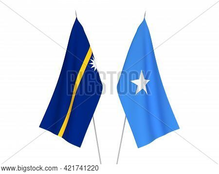 National Fabric Flags Of Somalia And Republic Of Nauru Isolated On White Background. 3d Rendering Il