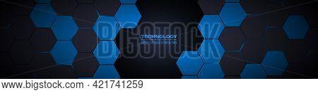 Dark Gray And Blue Hexagonal Technology Abstract Horizontal Vector Background. Blue Bright Energy Fl