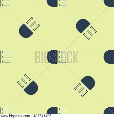 Blue High Beam Icon Isolated Seamless Pattern On Yellow Background. Car Headlight. Vector