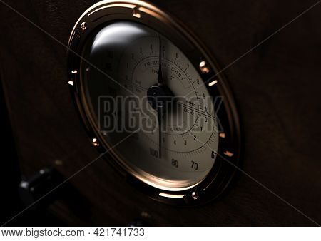 A Close Up View Of The Dial Of Vintage Radio From 1930 On A Dark Moody Background - 3d Render