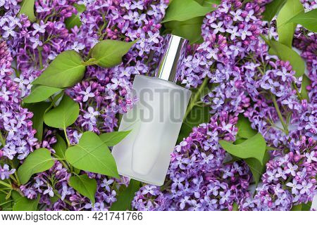 Perfumed Water, Eau De Par Fum With Floral Aroma. Lilac And Perfume In White Transparent Bottle In