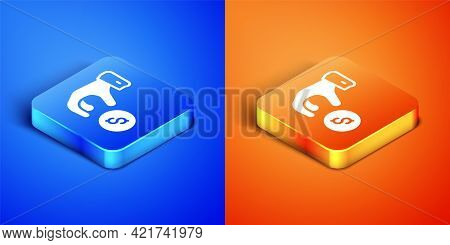 Isometric Donate Or Pay Your Zakat As Muslim Obligatory Icon Isolated On Blue And Orange Background.