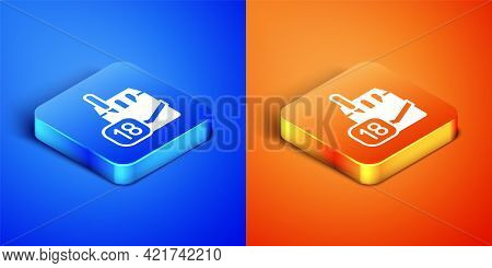 Isometric Cigarettes Pack Box Icon Isolated On Blue And Orange Background. Age Limit For Cigarettes.