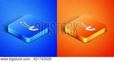 Isometric Pirate Sword Icon Isolated On Blue And Orange Background. Sabre Sign. Square Button. Vecto