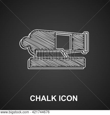 Chalk Cannon Icon Isolated On Black Background. Vector