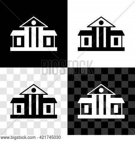 Set White House Icon Isolated On Black And White, Transparent Background. Washington Dc. Vector