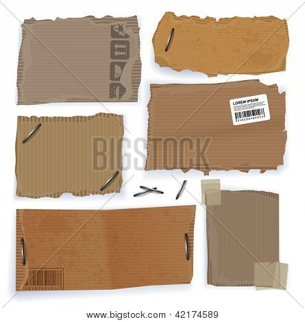 Riped cardboard tags. Vector website template, design elements set on white background