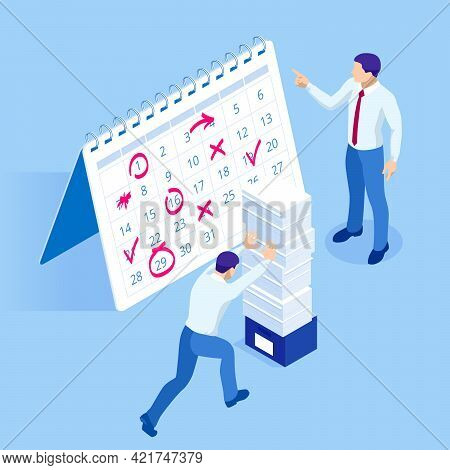 Isometric Project Deadline. Time Management On The Road To Success. Deadline Concept Of Overworked M