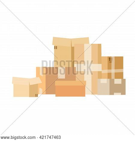 Pile Of Stacked Cardboard Boxes. Pile Of Stacked Sealed Goods Cardboard Boxes.
