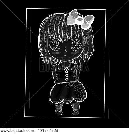 Sad Anime Girl. Girl Stands With A Cute Bow. Manga Anime Vector Illustration Eps10