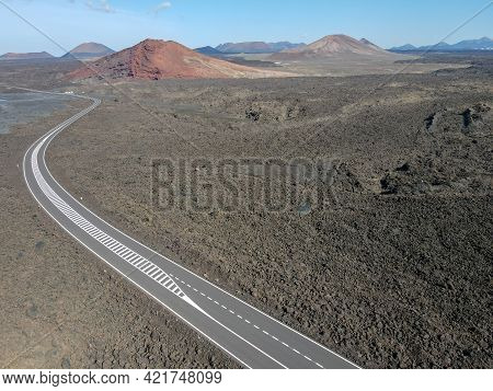Drone View Of Rural Road On Lava At Lanzarote Island, Spain