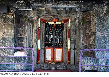 Stock Photo Of Front Door Of Ancient Lord Shiva Temple At Kolhapur City Maharashtra India. Front Vie