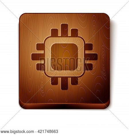 Brown Computer Processor With Microcircuits Cpu Icon Isolated On White Background. Chip Or Cpu With