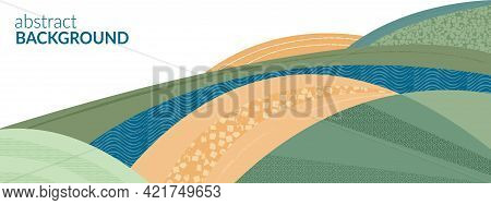 Abstract Agricultural Field Landscape Banner Background. Nature, Ecology, Organic, Environment Vecto