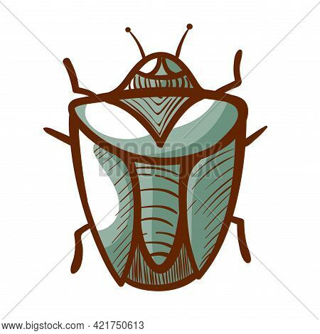 Green Crum Hand Drawn Icon. Beetle Parasite Pictogram. Bug Symbol, Sign. Insect Creeping.