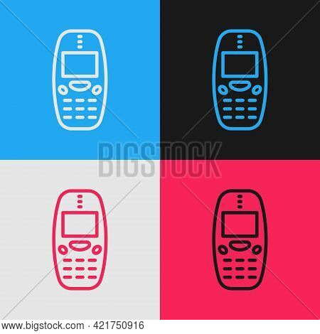Pop Art Line Old Vintage Keypad Mobile Phone Icon Isolated On Color Background. Retro Cellphone Devi